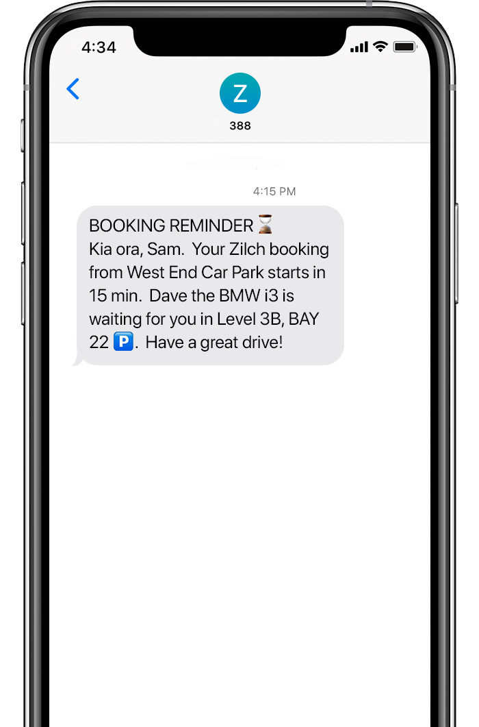 booking message animation